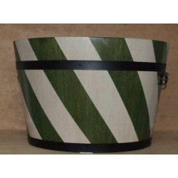 Donica dębowa w pasy biało-zielone 54x40
