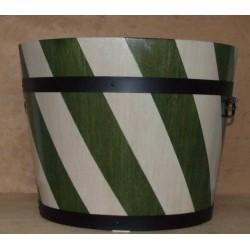 Donica dębowa w biało-zielone pasy