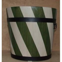 Donica dębowa w pasy biało-zielone 55x50